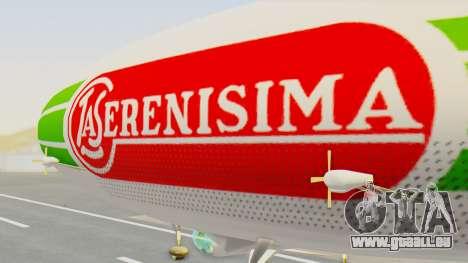 Dirigible de La Serenisima 1995 pour GTA San Andreas sur la vue arrière gauche