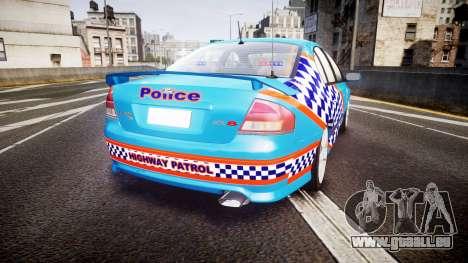 Ford Falcon BA XR8 Police [ELS] pour GTA 4 Vue arrière de la gauche