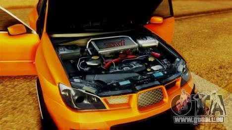 Subaru Impreza pour GTA San Andreas vue intérieure