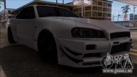 Nissan Skyline GT-R34 pour GTA San Andreas vue intérieure