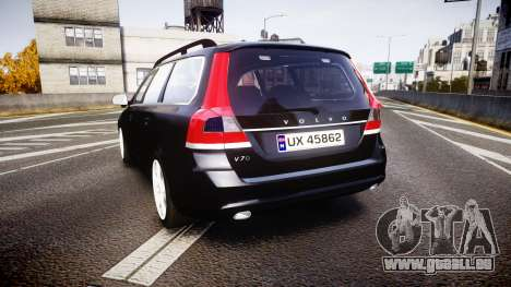 Volvo V70 2014 Unmarked Police [ELS] pour GTA 4 Vue arrière de la gauche