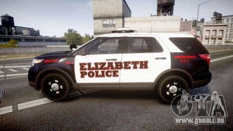Ford Explorer 2011 Elizabeth Police [ELS] für GTA 4 linke Ansicht