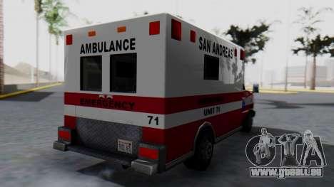 Ambulance with Lightbars pour GTA San Andreas laissé vue