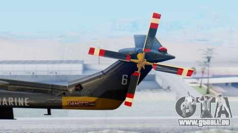 Westland SH-14D Lynx pour GTA San Andreas sur la vue arrière gauche