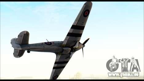 Hawker Hurricane MK IA pour GTA San Andreas sur la vue arrière gauche