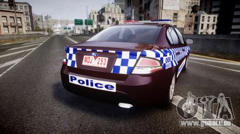 Ford Falcon FG XR6 Turbo NSW Police [ELS] v3.0 für GTA 4 hinten links Ansicht