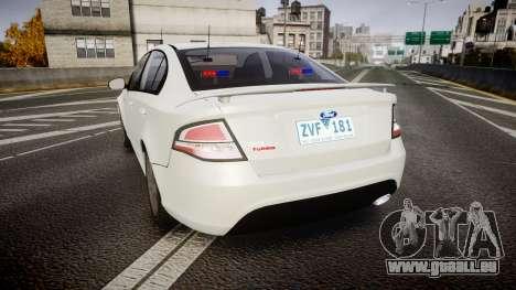Ford Falcon FG XR6 Turbo Unmarked Police [ELS] pour GTA 4 Vue arrière de la gauche
