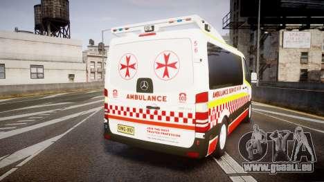 Mercedes-Benz Sprinter NSW Ambulance [ELS] pour GTA 4 Vue arrière de la gauche