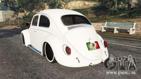 GTA 5 Volkswagen Beetle arrière vue latérale gauche