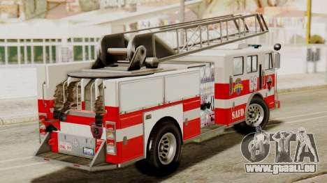 SAFD Fire Lader Truck Flat Shadow pour GTA San Andreas sur la vue arrière gauche