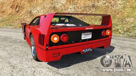 GTA 5 Ferrari F40 1987 v1.1 hinten links Seitenansicht