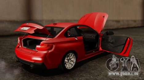 BMW M235i F22 Sport 2014 pour GTA San Andreas vue de dessous