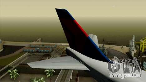 Boeing 747 Delta pour GTA San Andreas sur la vue arrière gauche