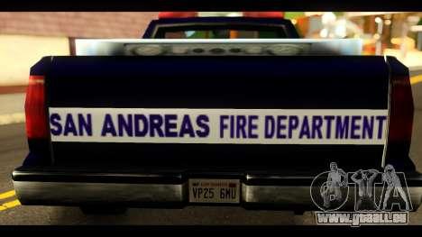 FDSA Brush Patrol Car pour GTA San Andreas sur la vue arrière gauche