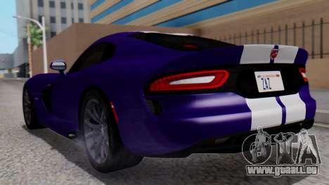 Dodge Viper SRT GTS 2013 HQLM (HQ PJ) pour GTA San Andreas laissé vue