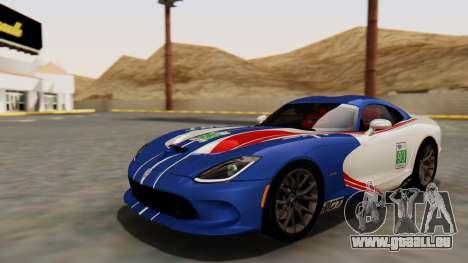 Dodge Viper SRT GTS 2013 HQLM (HQ PJ) pour GTA San Andreas vue de côté