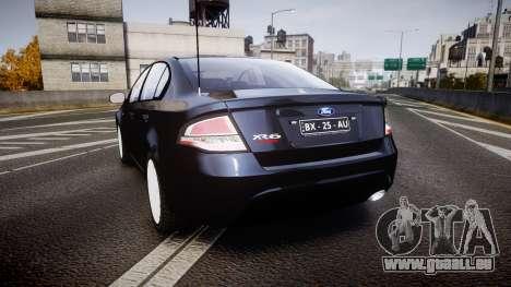 Ford Falcon FG XR6 Unmarked Police [ELS] v2.0 pour GTA 4 Vue arrière de la gauche