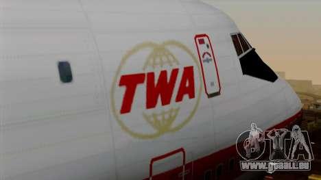 Boeing 747 TWA für GTA San Andreas Rückansicht