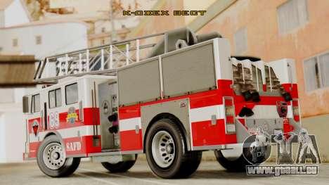 SAFD Fire Lader Truck Flat Shadow pour GTA San Andreas laissé vue