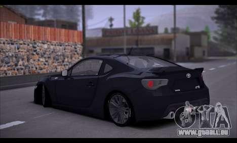 Toyota GT86 2012 BUFG Edition pour GTA San Andreas vue de droite