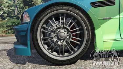 GTA 5 BMW M3 GTR E46 PJ1 arrière droit vue de côté