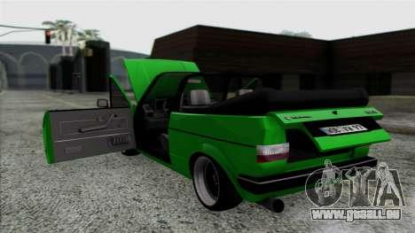 Volkswagen Golf Cabrio VR6 pour GTA San Andreas vue intérieure