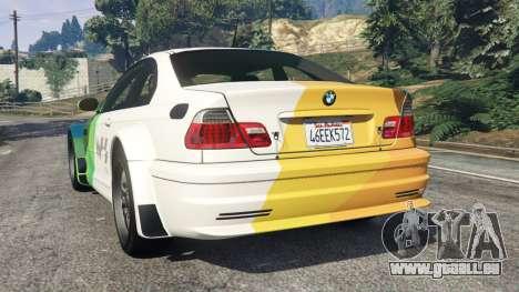 GTA 5 BMW M3 GTR E46 PJ1 arrière vue latérale gauche
