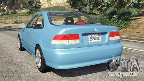 GTA 5 Honda Civic Si 1999 v1.1 arrière vue latérale gauche
