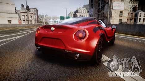 Alfa Romeo 4C 2014 WTCC Safety Car pour GTA 4 Vue arrière de la gauche