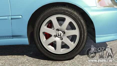 GTA 5 Honda Civic Si 1999 v1.1 arrière droit vue de côté