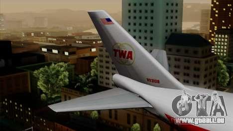 Boeing 747 TWA pour GTA San Andreas sur la vue arrière gauche
