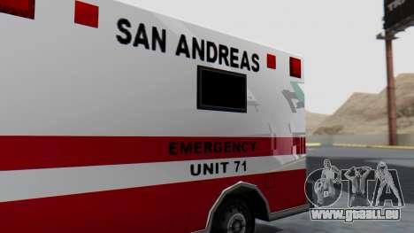 Ambulance with Lightbars pour GTA San Andreas vue arrière