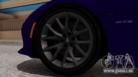 Dodge Viper SRT GTS 2013 HQLM (HQ PJ) pour GTA San Andreas sur la vue arrière gauche