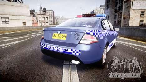 Ford Falcon FG XR6 Turbo NSW Police [ELS] pour GTA 4 Vue arrière de la gauche