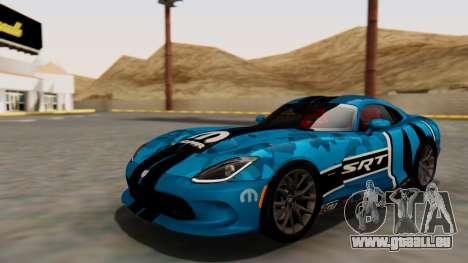 Dodge Viper SRT GTS 2013 HQLM (HQ PJ) pour GTA San Andreas vue de dessous