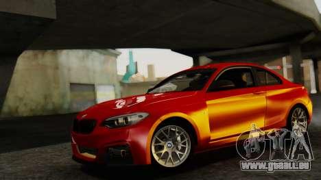BMW M235i F22 Sport 2014 pour GTA San Andreas sur la vue arrière gauche