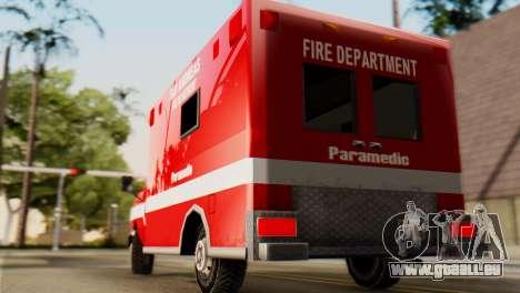 SAFD Ambulance pour GTA San Andreas sur la vue arrière gauche