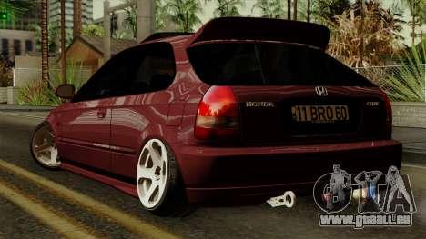Honda Civic Hatchback B. O. De La Construction pour GTA San Andreas laissé vue