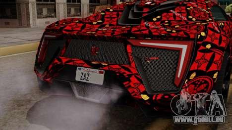 Lykan Hypersport Batik pour GTA San Andreas vue arrière