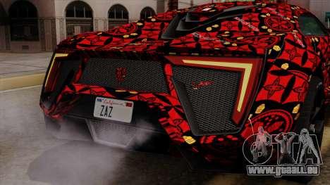 Lykan Hypersport Batik pour GTA San Andreas vue de dessous