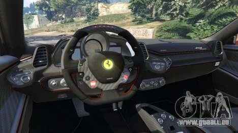 GTA 5 Ferrari 458 Italia 2009 v1.3 droite vue latérale