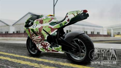 Bati Wayang Camo Motorcycle für GTA San Andreas zurück linke Ansicht