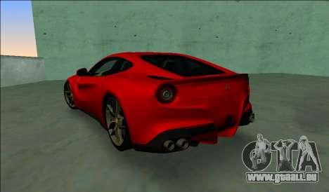 Ferrari F12 Berlinetta für GTA Vice City zurück linke Ansicht