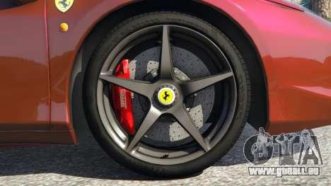 GTA 5 Ferrari 458 Italia 2009 v1.3 arrière droit vue de côté