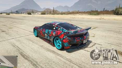 GTA 5 Dinka Jester (Rennwagen) Sticker Bombing для GTA hinten links Seitenansicht