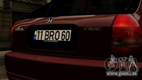 Honda Civic Hatchback B. O. Bau für GTA San Andreas Rückansicht