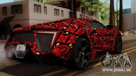 Lykan Hypersport Batik pour GTA San Andreas laissé vue