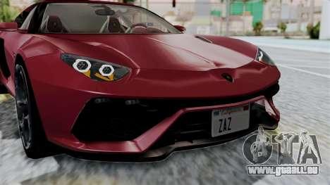 Lamborghini Asterion Concept 2015 v2 pour GTA San Andreas vue intérieure