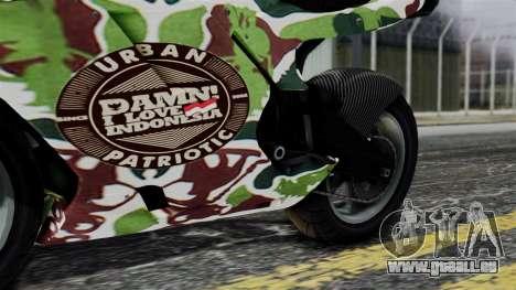 Bati Wayang Camo Motorcycle pour GTA San Andreas vue intérieure