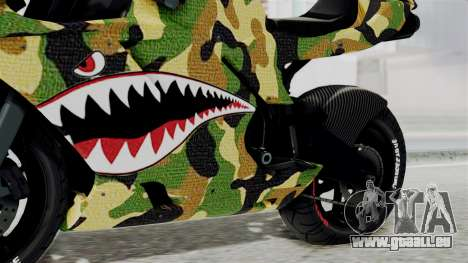 Bati Motorcycle Camo Shark Mouth Edition für GTA San Andreas rechten Ansicht